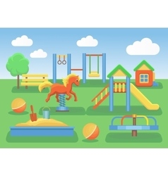 Kids playground flat concept background slide vector