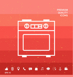 Kitchen stove linear icon vector