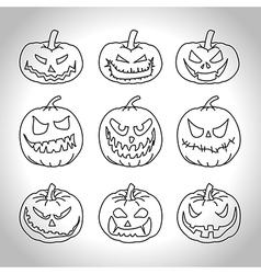 Line pumpkins vector