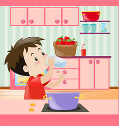 little boy drinking water in kitchen vector image