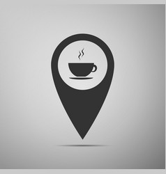 Map pointer with hot coffee cup on grey background vector