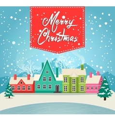 Marry christmas greeting card with village vector