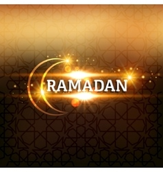 Ramadan arabic islamic lettering dark glowing vector image