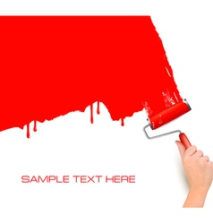 Red roller paint vector