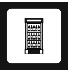 Refrigerator showcase with bottles icon vector image