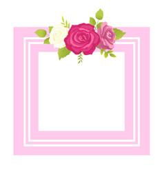 rose white pink purple flower photo frame greeting vector image