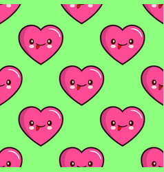 seamless pattern of smiling hearts on background vector image