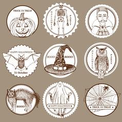 Sketch halloween labels vector