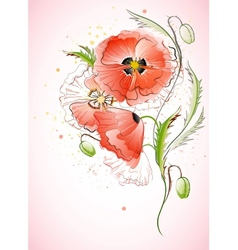 Vertical background with red poppy vector