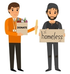 Volunteer and homeless vector