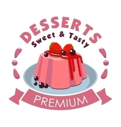 Premium dessert emblem strawberry pudding icon vector