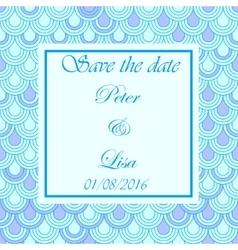 Wedding invitation flake pattern blue vector