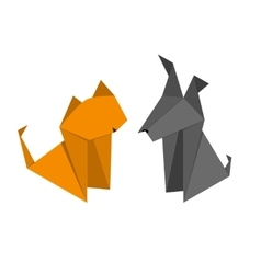 Origami Paper Dog and Cat Set vector image