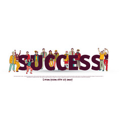 Success team group business people isolate white vector