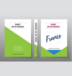 Cover for diary of travels in france a4 brochure vector