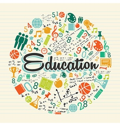 Education circle colorful icons vector image