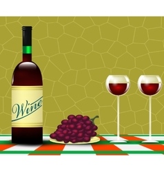 Wine and bunch of grapes vector
