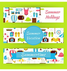 Summer vacation and summer time template banners vector