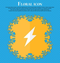 Photo flash icon sign Floral flat design on a blue vector image
