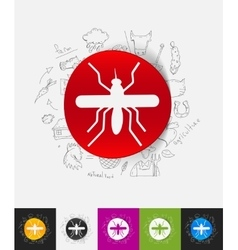 Mosquito paper sticker with hand drawn elements vector