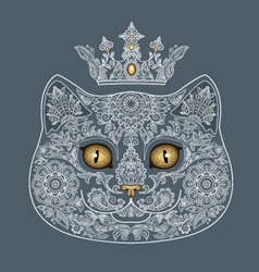 Tattooed head of a cat with a crown vector