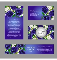 Cards with texture of blue flowers and sample text vector