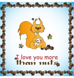 Design card with loved squirrel for valentine day vector
