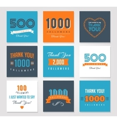 Thank you followers badges stickers and labels vector