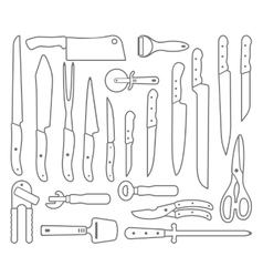 Knifes outlines icons vector