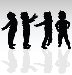 Boy in various pose silhouette vector