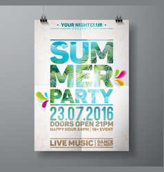 Summer beach party flyer design with palm leaves vector