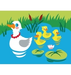 Mother duck with three baby ducks in the pond vector