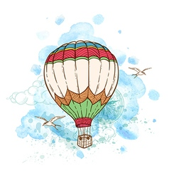 Air balloon and watercolor blots vector image vector image
