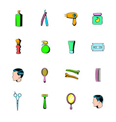 Barber shop elements icons set cartoon vector