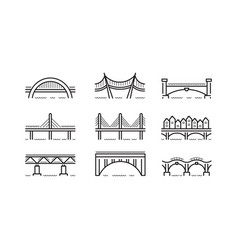 bridge line icon set vector image