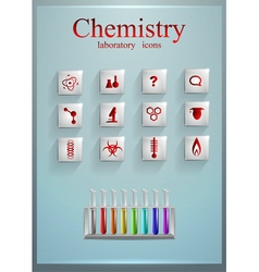Chemistry set glass bright icons vector