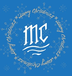 Christmas festive Card monograms style holiday vector image vector image