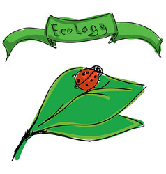 Drawn ladybird on leaf vector