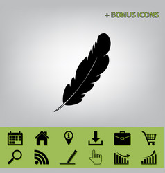 Feather sign black icon at vector