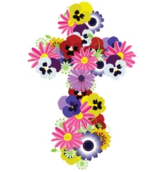 Floral cross vector