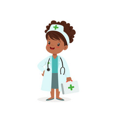 Girl character think of joining medical profession vector