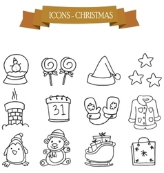 Hand draw christmas holiday icons vector