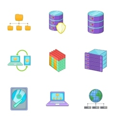 Internet hosting technology icons set vector
