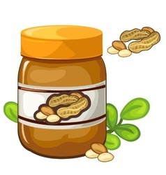 Jar of peanut butter on a white background vector image vector image