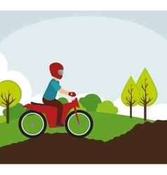 Motorcyclist on rural road landscape vector