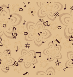music notes and flowers seamless background vector image