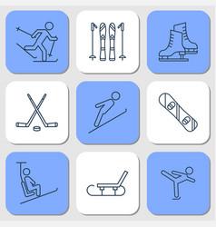 nine icons - winter sport activities vector image