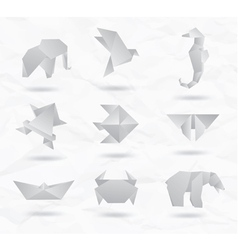 Origami white animals vector
