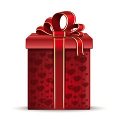 red gift box with hearts vector image vector image