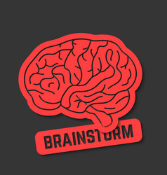 Red outline brain icon like brainstorm vector
